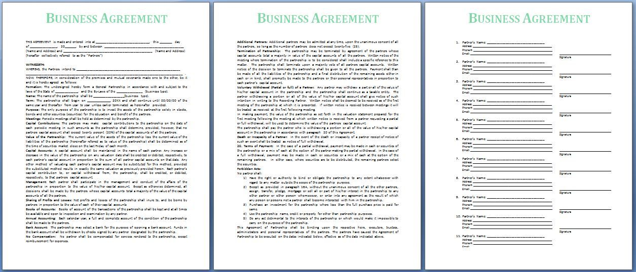 If your business is offering or receiving services from another - business agreement templates
