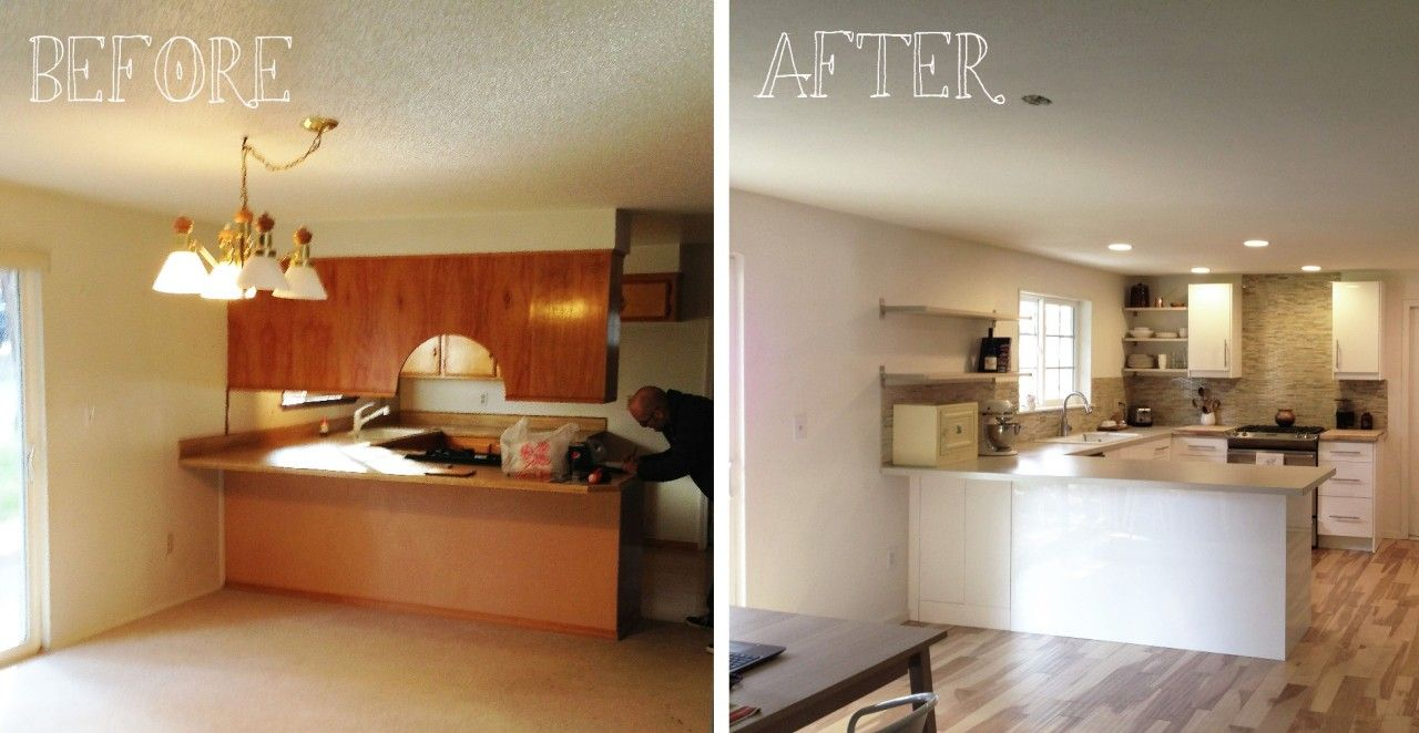 Condo Kitchen Remodel To White Themes Before And After (1280×662)