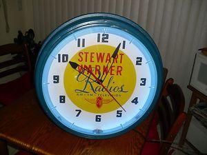 VINTAGE STEWART WARNER RADIO LACKNER NEON CLOCK