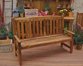 dollhouse outdoor furniture. Aged Conservatory Garden Bench 1:12 Scale Miniature Dollhouse Furniture Outdoor