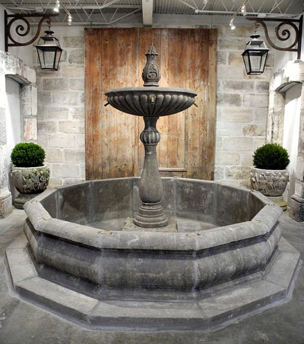 Once the centerpiece in the inner courtyard of an elegant Italian villa outside of Viterbo Italy this monumental 18th c Fountain has made the long journey to our showroom