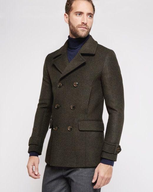 Herringbone wool-blend peacoat - Dark Green | Jackets & Coats | Ted Baker UK
