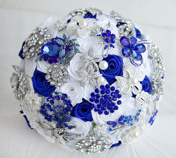 Royal Blue And Silver Wedding Flowers: Custom Order. Royal Blue And White Brooch Bouquet