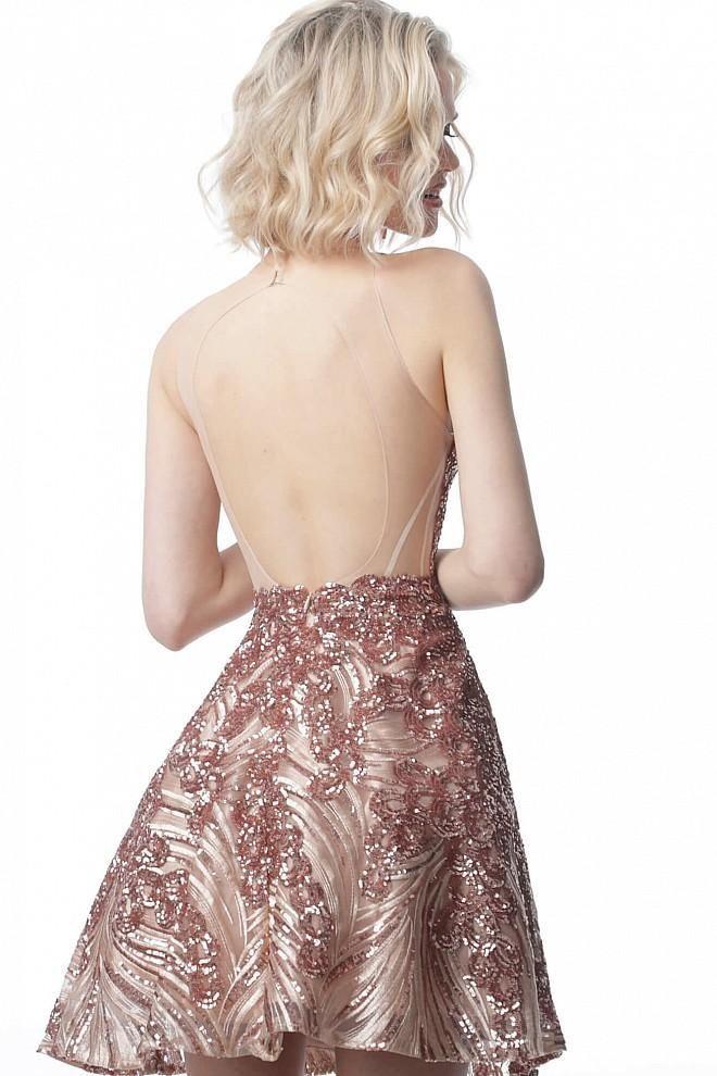 Jovani - JVN66654 Allover Sequin Illusion Backless Cocktail Dress #backlesscocktaildress