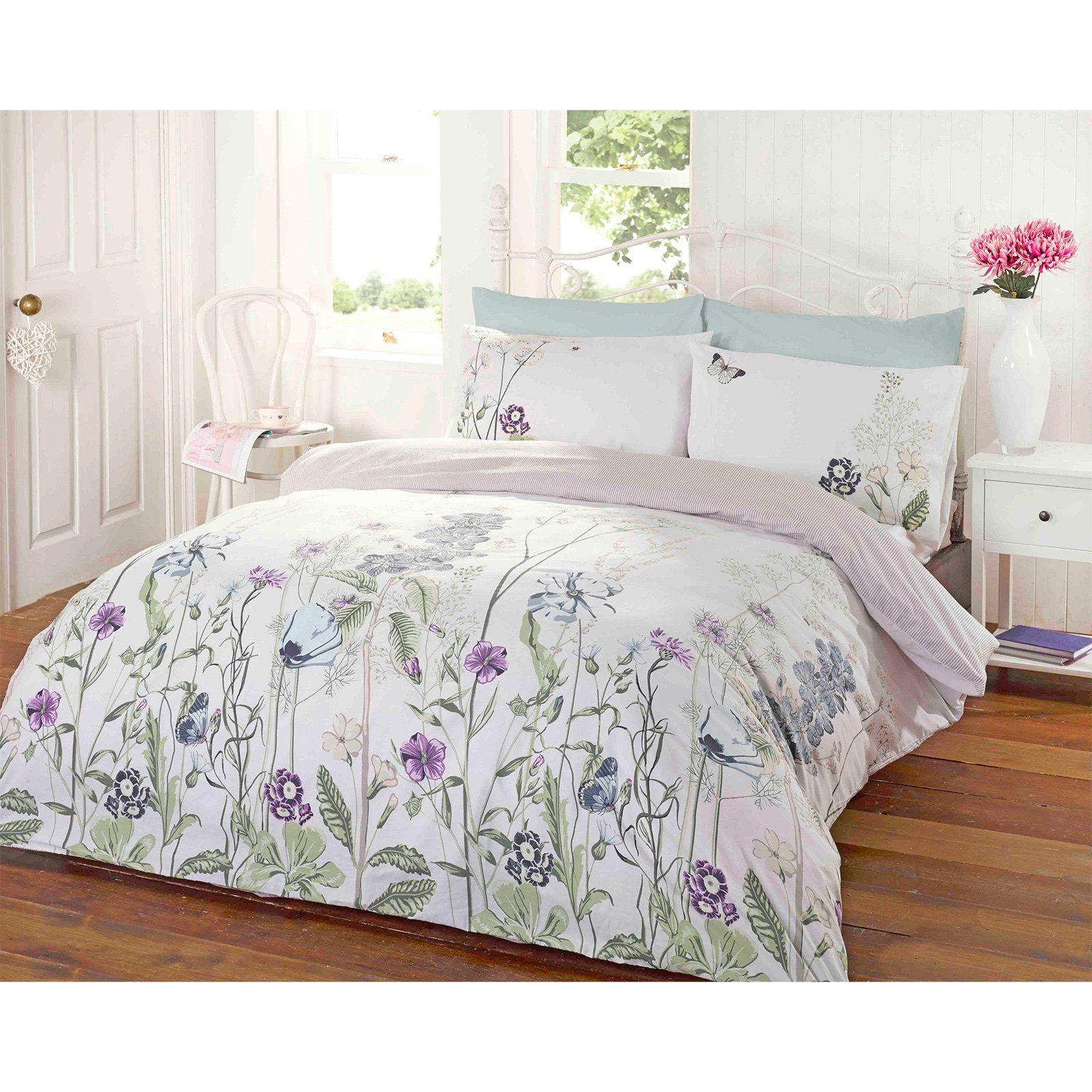 Garden Fl Duvet Cover Reversible Stripe Bedding White Duck Egg Blue Bed Set Lilac Purple Green Double