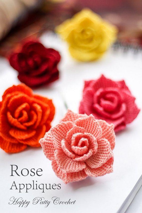 Ganchillo rosa PATRÓN ganchillo Flor apliques por HappyPattyCrochet ...