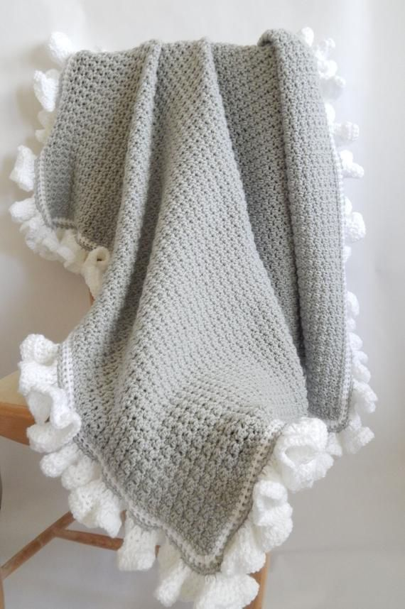 The Lauren Crocheted Blanket grey with white ruffl