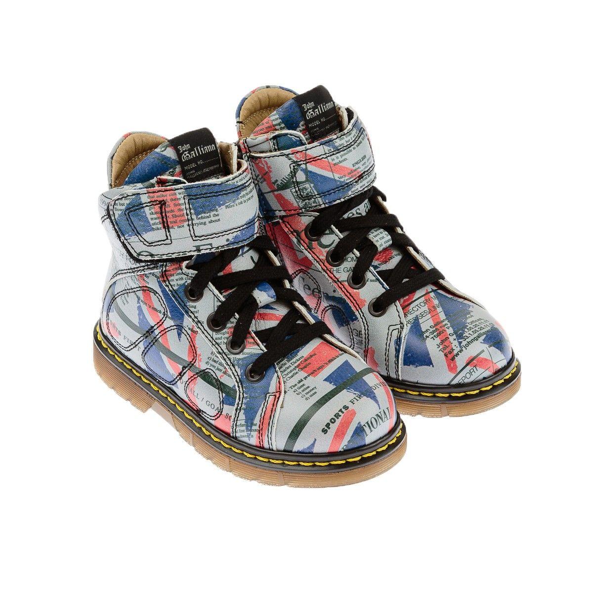 John Galliano Boys Leather Union Jack Gazette Boots Kids Shoes Boots Leather