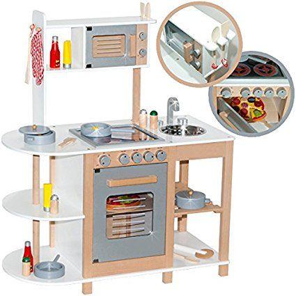 Kinderküche aus Holz (Weiß-Silber) Spielküche für Kinder | hracky ...