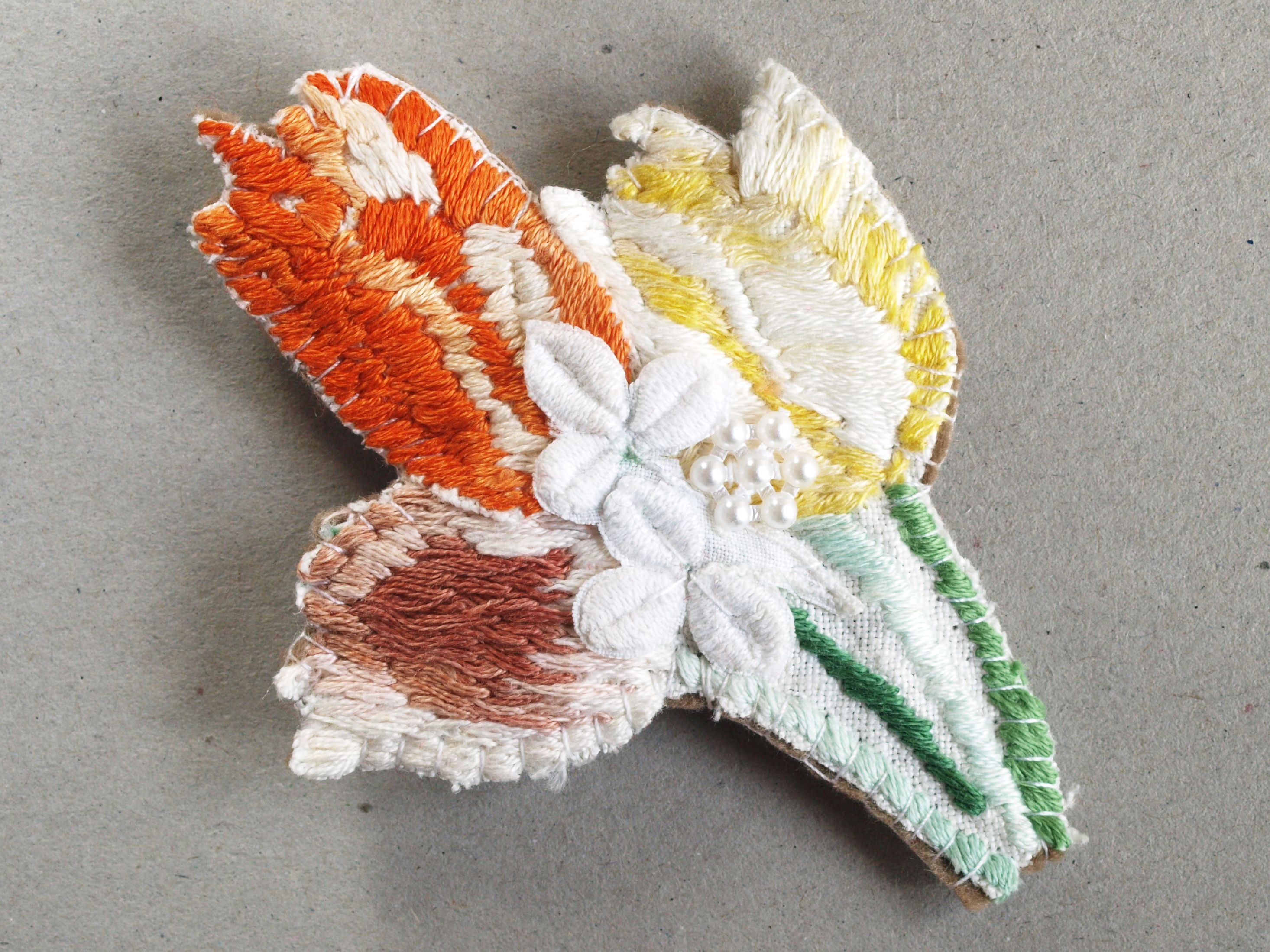 Diy Embroidered Jewellery Recycled Linen Brooch Cut Stitched From Vintage