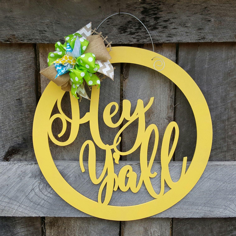 Hey Y\'all Door Hanger - Summer Wreath - Southern Door Decor ...