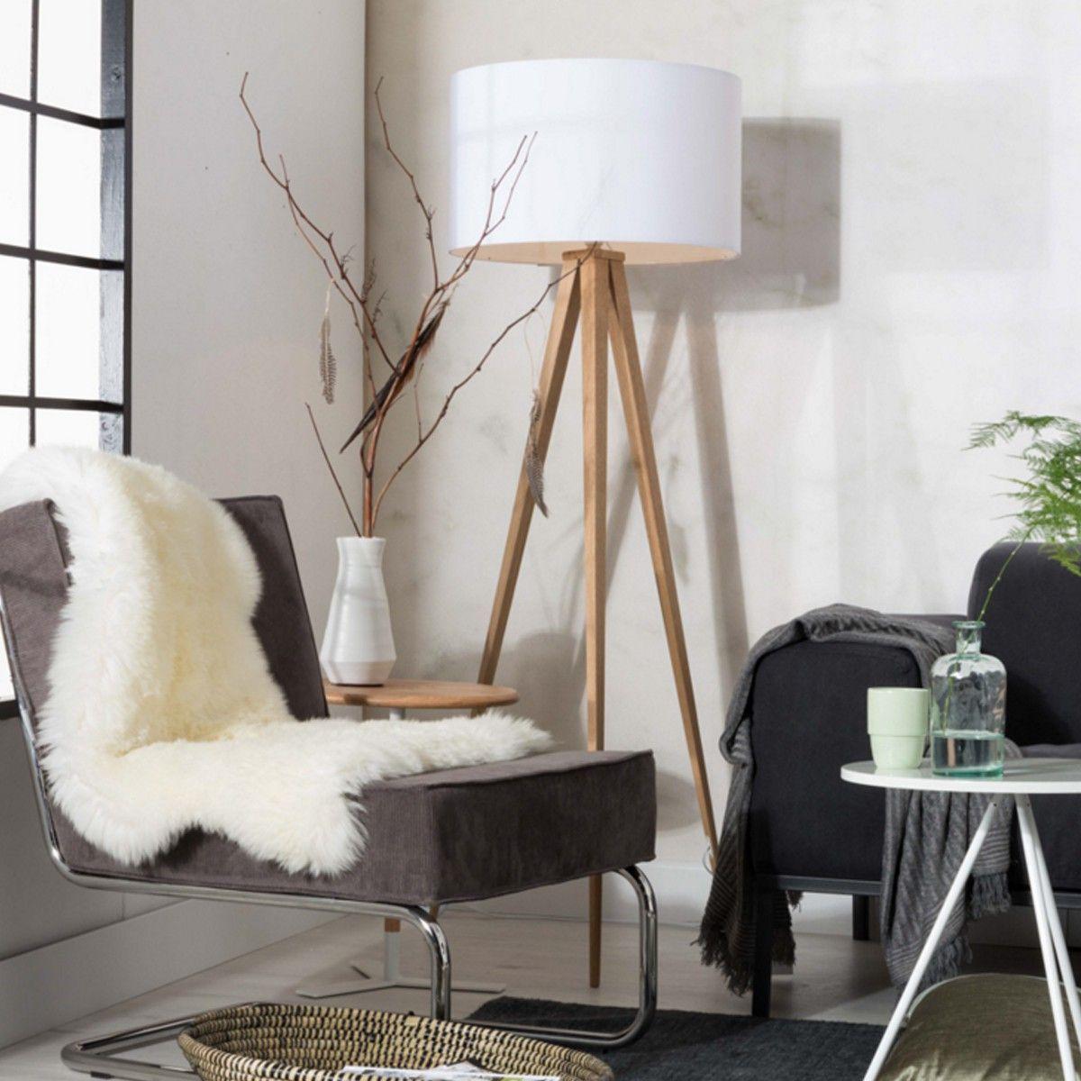 Lampe Tripod En Bois Blanc Zuiver Lampes Salon Eclairage Du Salon Lampadaire Chambre
