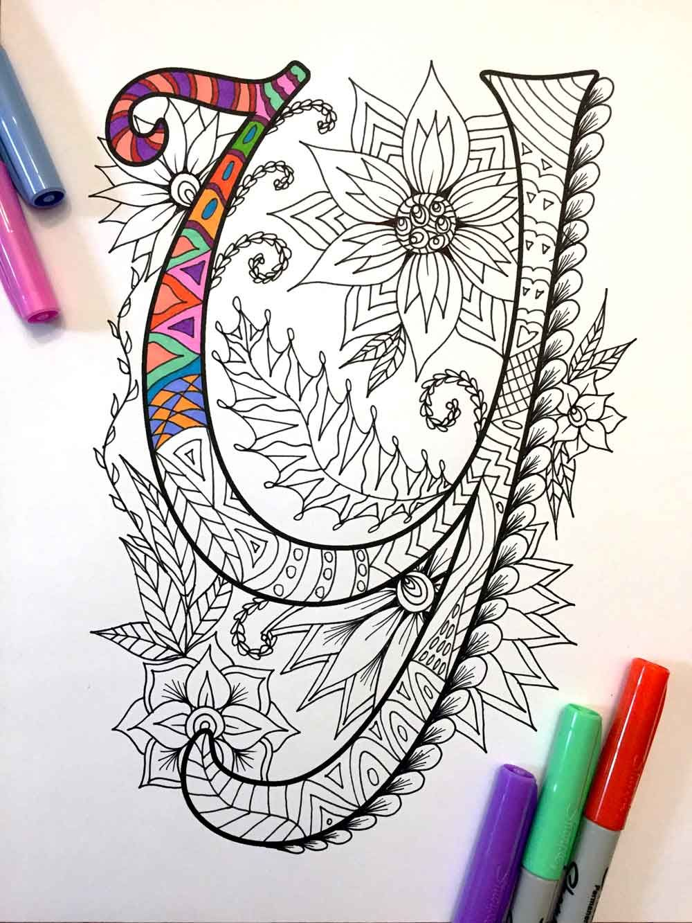 Scribbles Alphabet And Numbers Coloring Book In 2020 Zentangle Patterns Lettering Lettering Alphabet