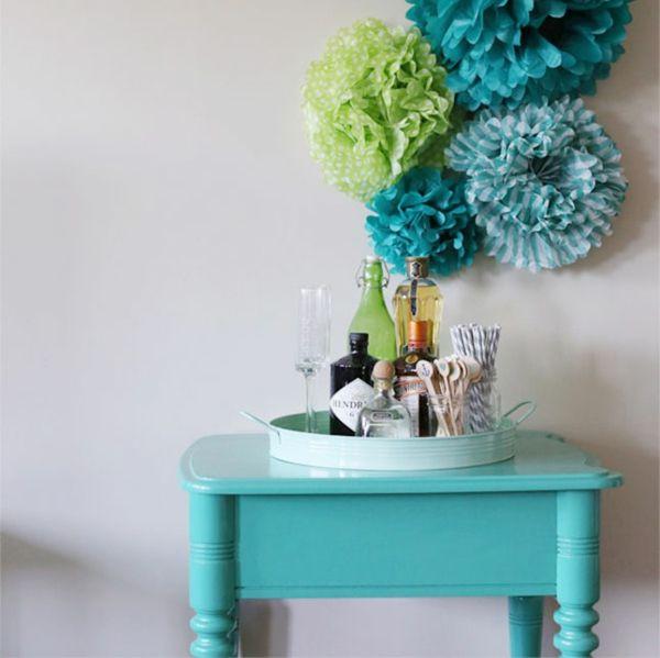 wanddekoration ideen machen blau grün
