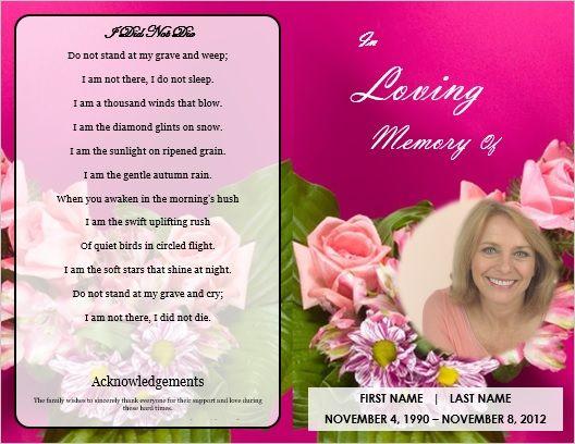 Funeral Service Program Template Amy Pinterest Microsoft - funeral service templates word