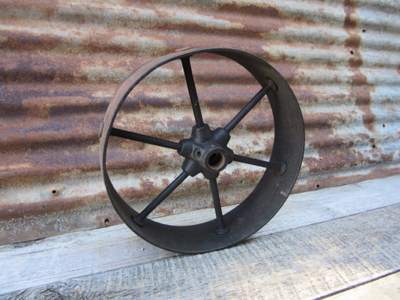 Antique Iron Metal Wheel Hit And Miss Style Cart Wheel Spoked Wide