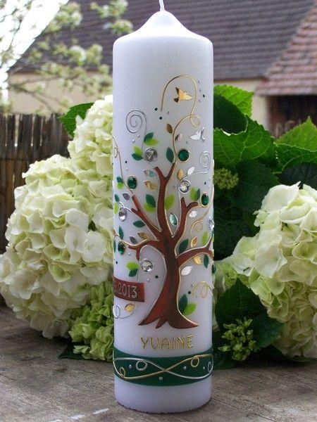 Taufkerze Lebensbaum Grun Von Lebenslichter Auf Dawanda Com