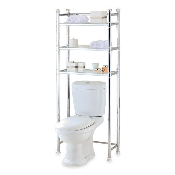99 99 No Tools Chrome Glass Bathroom Space Saver Bed Bath