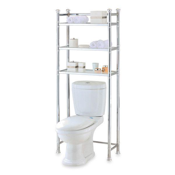 99 99 No Tools Chrome Glass Bathroom Space Saver Bed Bath
