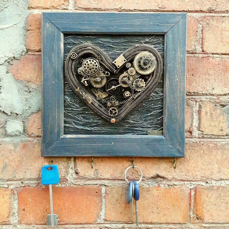 Heart with wings Anniversary gift for boyfriend Steampunk