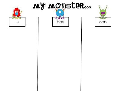 I Need My Monster Writing Activity Descriptive Writing