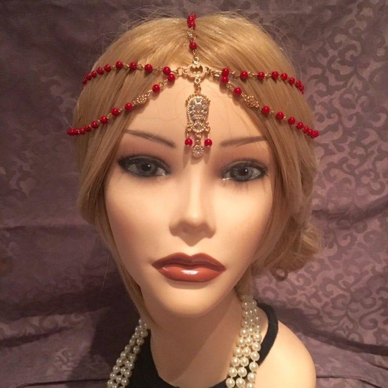 Items similar to 1920's RED Beaded Flapper Headpiece Head Chain Rhinestone Gatsby Costume Gold Tassel Adjustable 20's Motif Vintage Headband (925) on Etsy