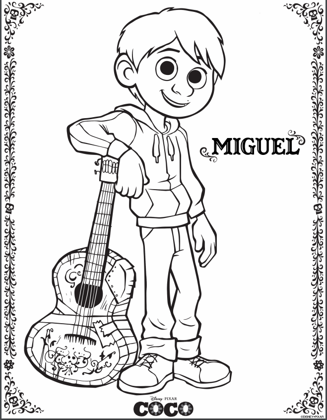 Free Pixar S Coco Printable Coloring Pages Activity Sheets Recipes Disney Coloring Pages Coloring Pages Free Coloring Pages