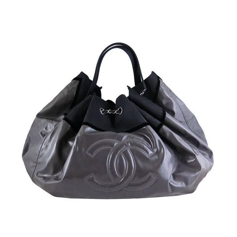 Chanel Black Vinyl Coco Spirit Cabas Maxi XL Tote Bag