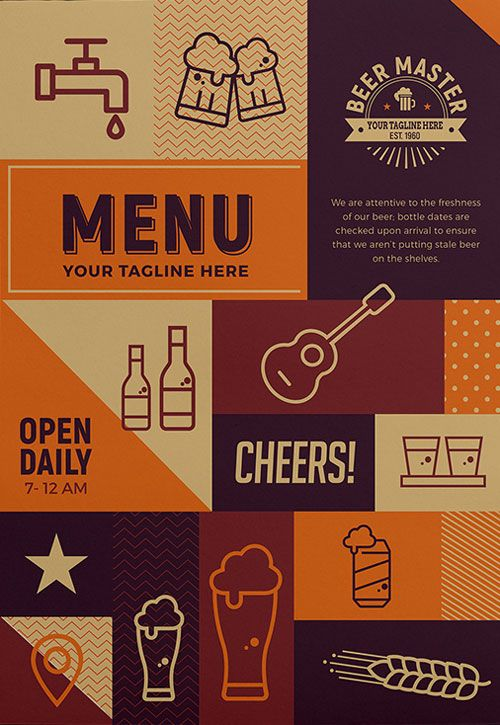 Free Craft Beer Menu Flyer Template - http\/\/freepsdflyer\/free - beer menu