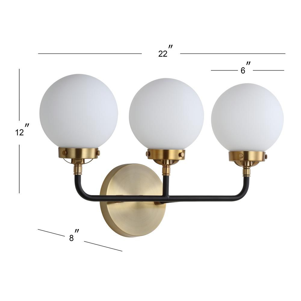 Jonathan Y Caleb 3 Light 22 In Brass Gold Black Wall Sconce Jyl9058b The Home Depot Energy Efficient Light Bulbs Brass Wall Sconce Sconces
