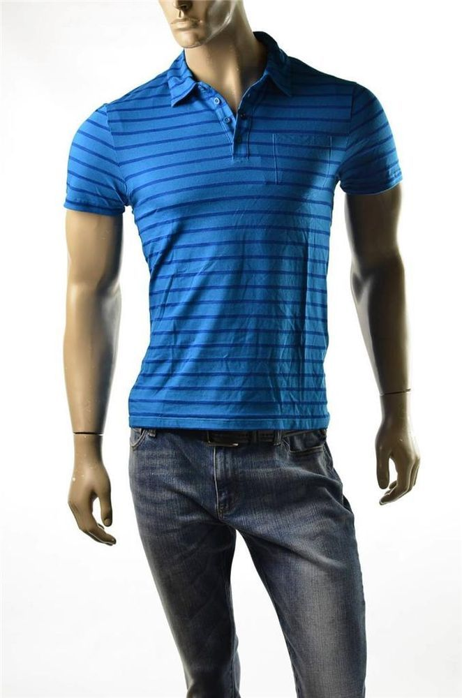Armani Exchange Shirt Mens A/X Blue Stripe S/S Polo Shirts SZ M T-shirt Slim New #ArmaniExchange #PoloRugby