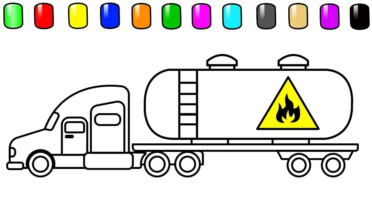 Oil Truck Coloring Pages Colouring Book For Kids Cars Coloring