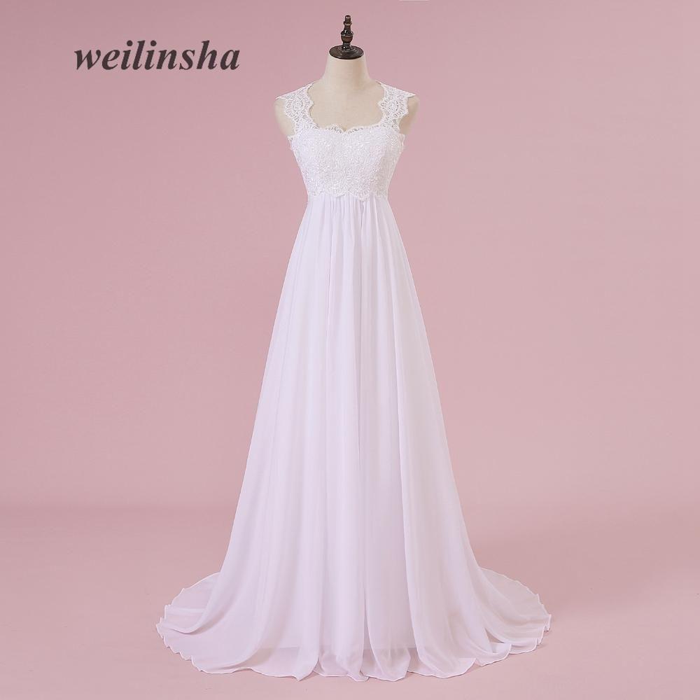 455c01e2258 weilinsha Hot Sale Pregnant Beach Wedding Dresses Plus Size Chiffon  Appliques Sweep Train Elegant Brides Dresses