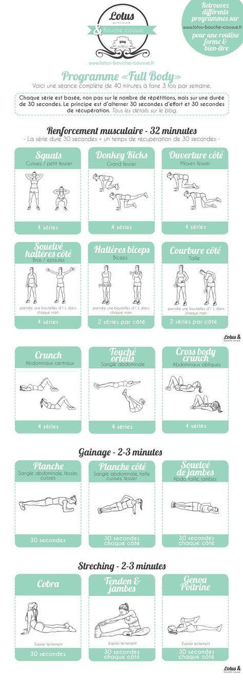 """Programme fitness """"Full Body"""" à la maison - #à #Body #Exerciceàlamaison #Exercicemusculation #Exerci..."""