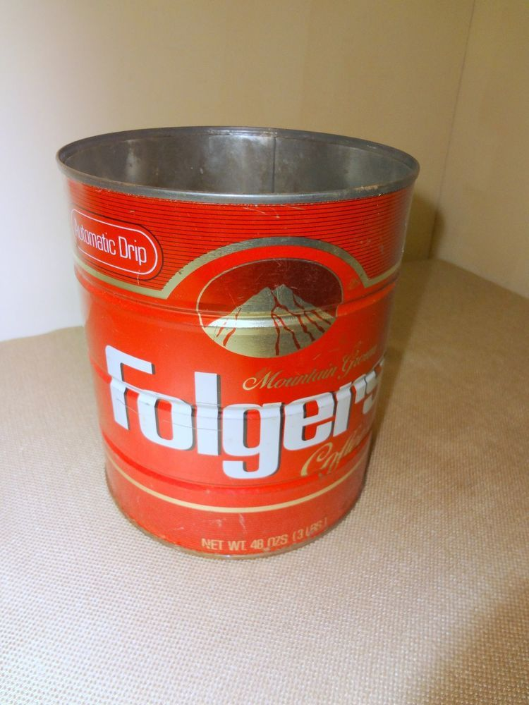 Vintage Folger S Red Metal 48 Oz Or 3 Lb Empty Coffee Can Automatic Drip Folgers