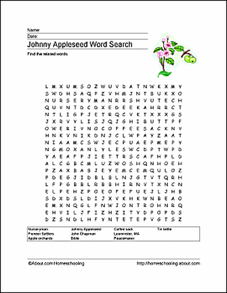 Johnny Appleseed Word Search Crossword Puzzle And More Pinterest