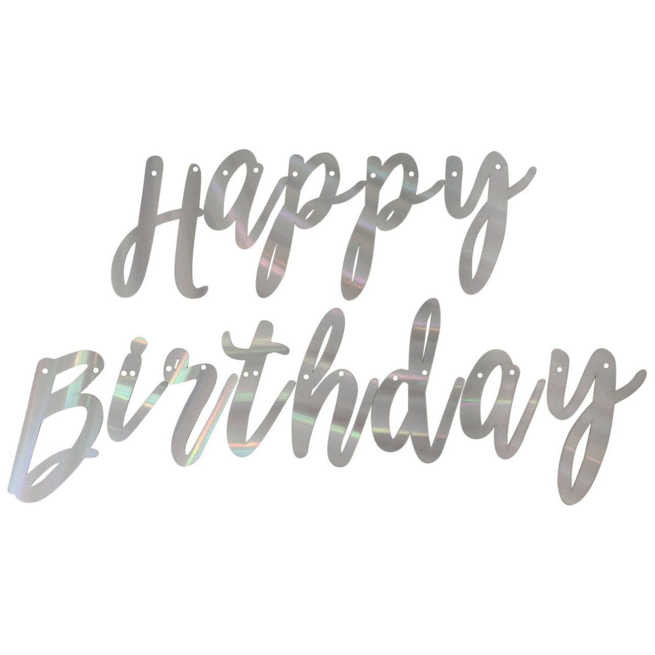 Cursive Happy Birthday Banner In Holographic Foil