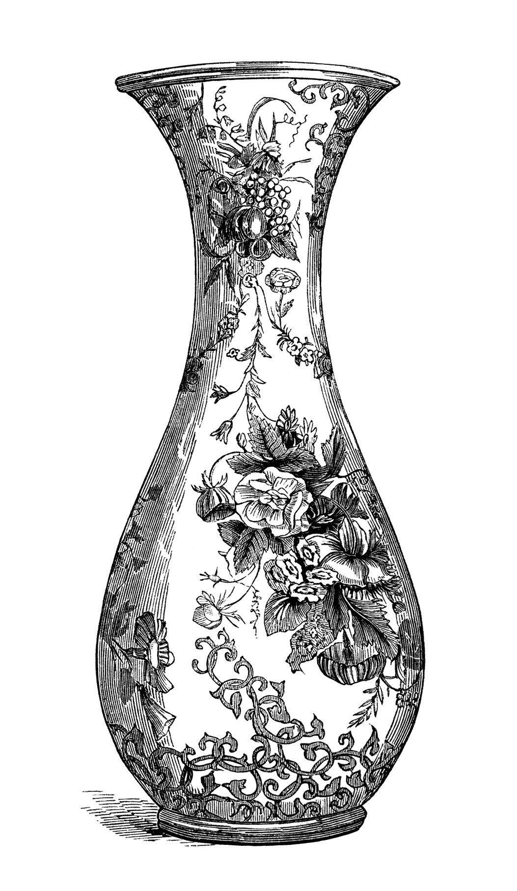 black and white clip art free vintage image floral vase vase  - black and white clip art free vintage image floral vase vase engraving