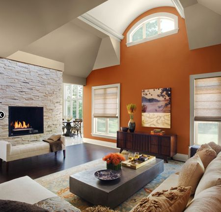 Rich, coppery-orange Masada AF-220 accent wall from @Benjamin ...
