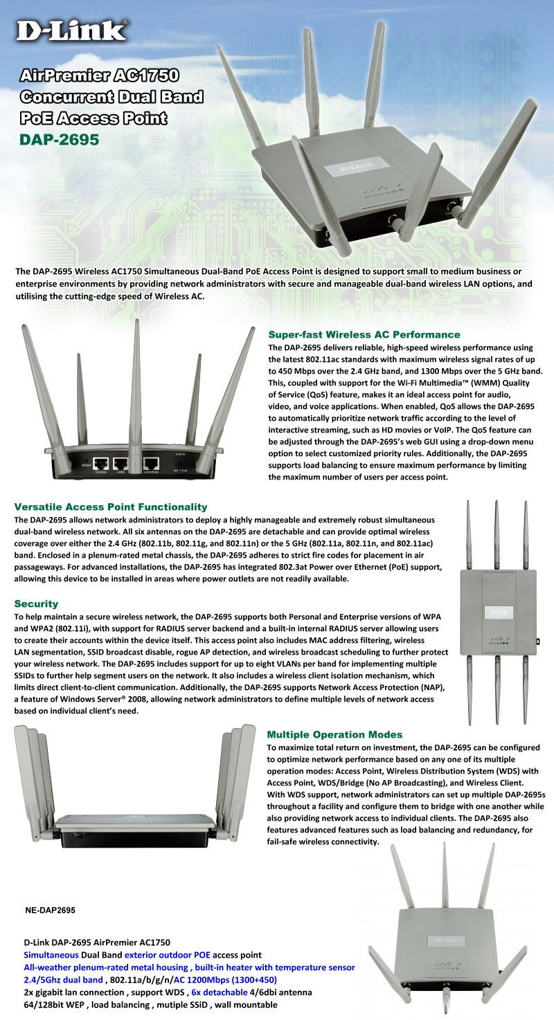 AirPremier AC1750 Concurrent Dual Band POE Access Point