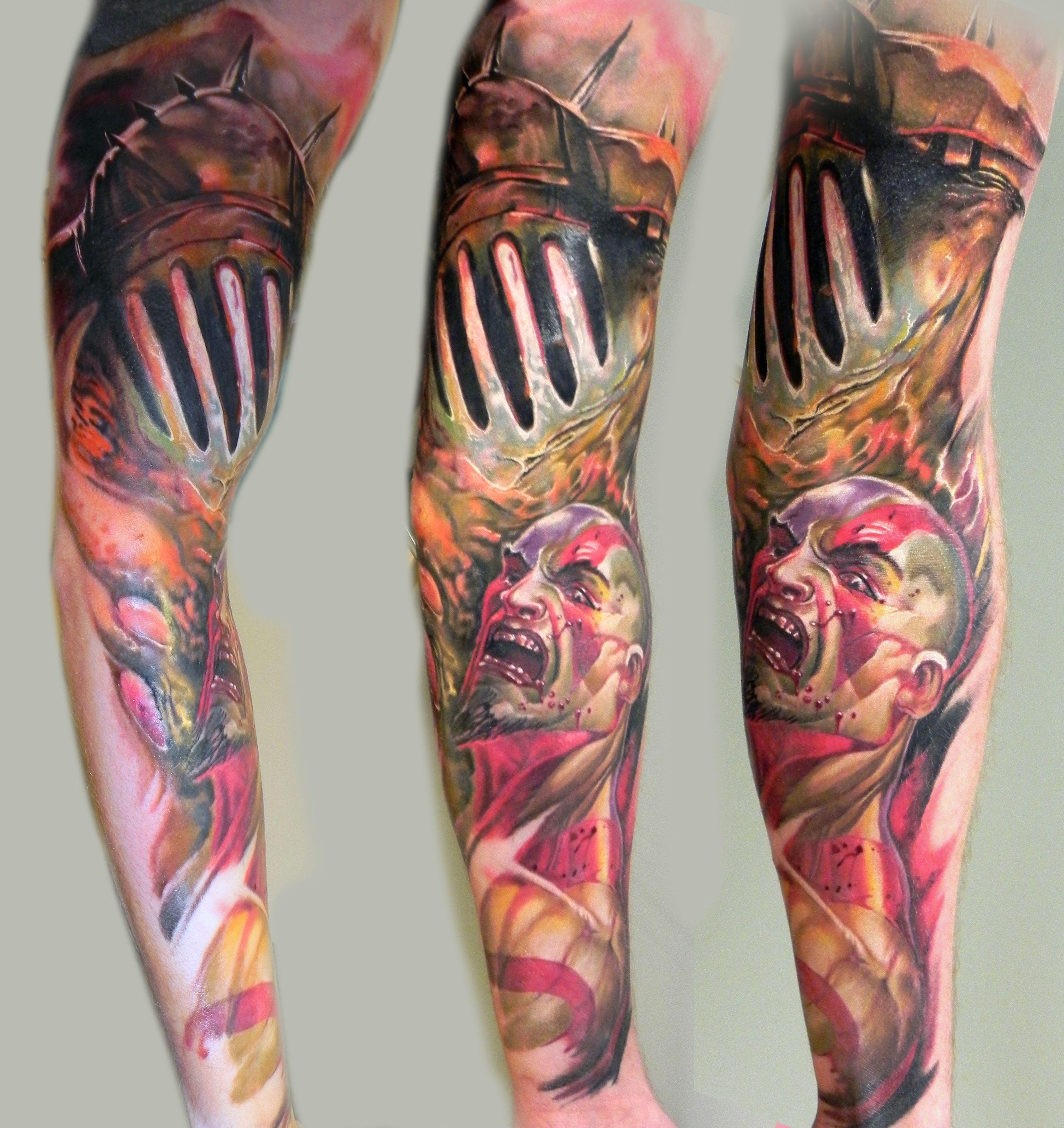 God Of War Game Theme Tattoo Ink Color Sleeve Dublin Ireland Video Game Greek Mythology Sleeve Tattoos For Women Tattoo Designs Men Sleeve Tattoos