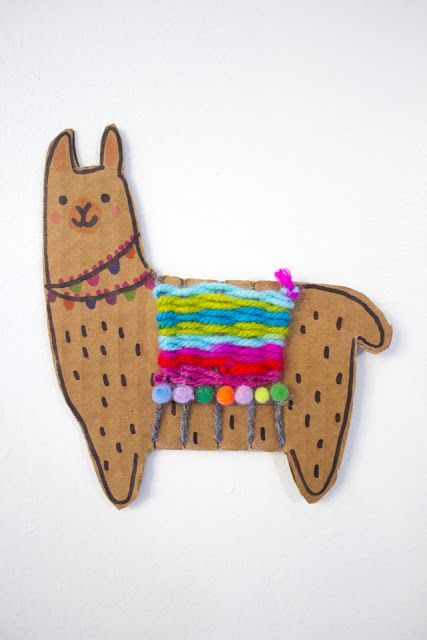 Photo of Adorable Woven Cardboard Llamas