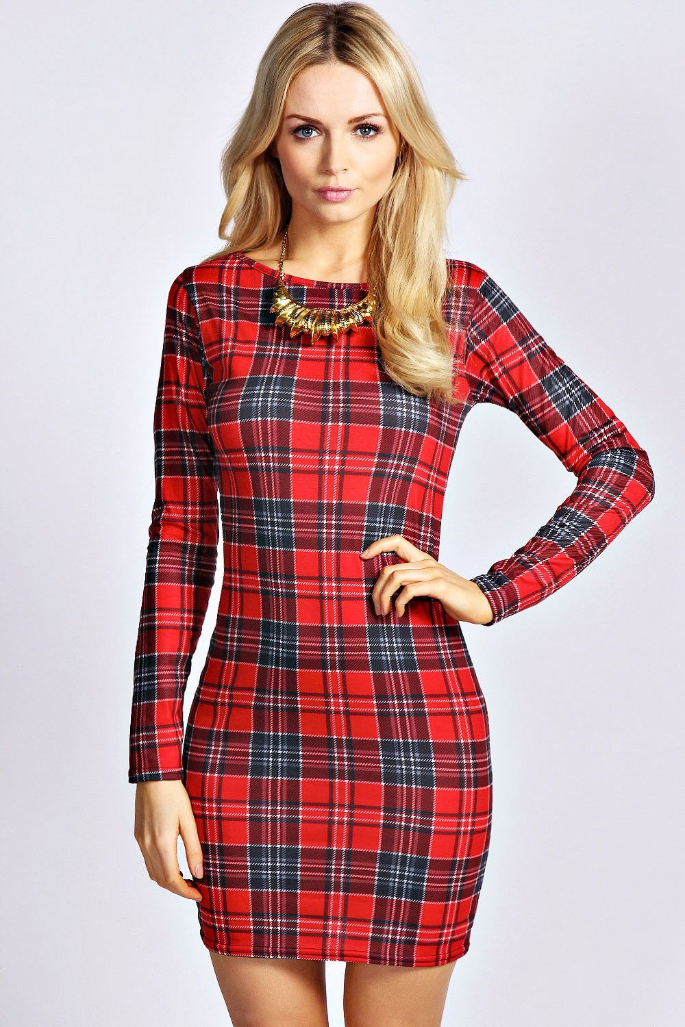 Pin by M on Tight Long sleeve bodycon dress, Plaid