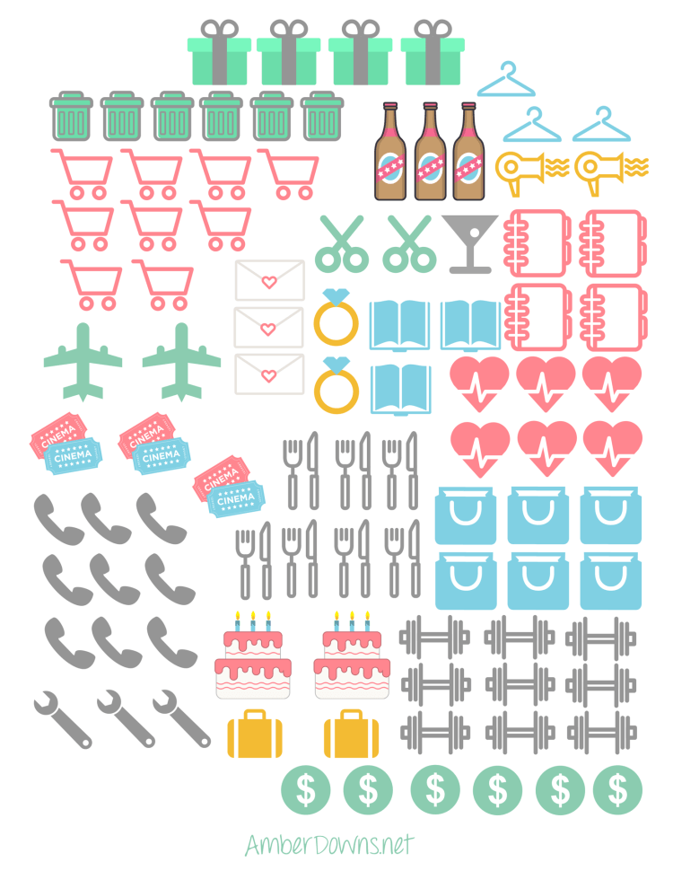 image about Free Printable Stickers called Planner icon stickers- Cost-free printable designing lifetime