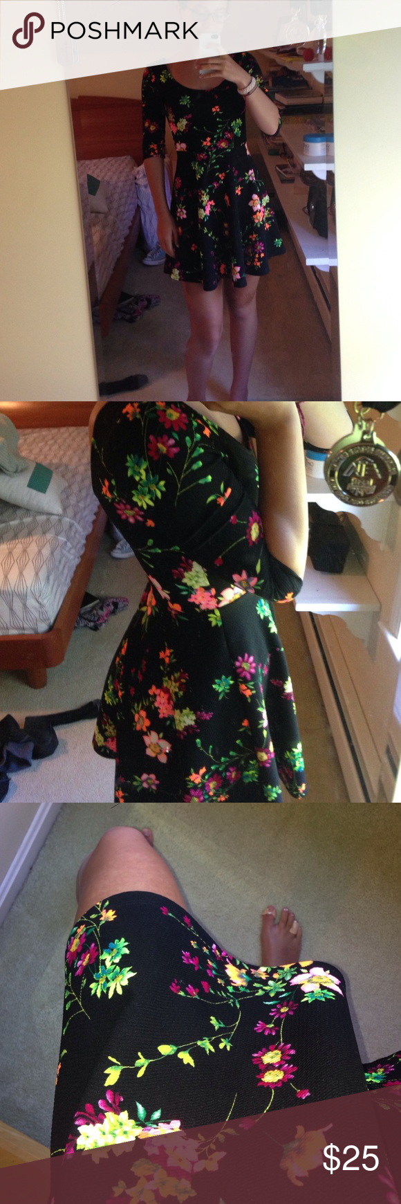 LUSH neon floral/black dress worn only twice, comfy and beautiful dress. bought at Nordstrom's. sinched waist, deep cut back and 3/4 sleeves. Lush Dresses