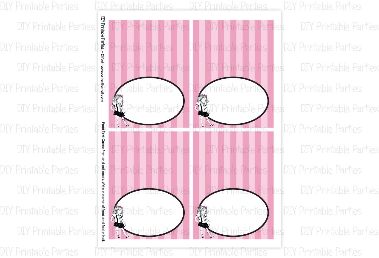 Printable DIY Eloise at the Plaza Theme BLANK Food Tent Cards. $4.00, via Etsy.
