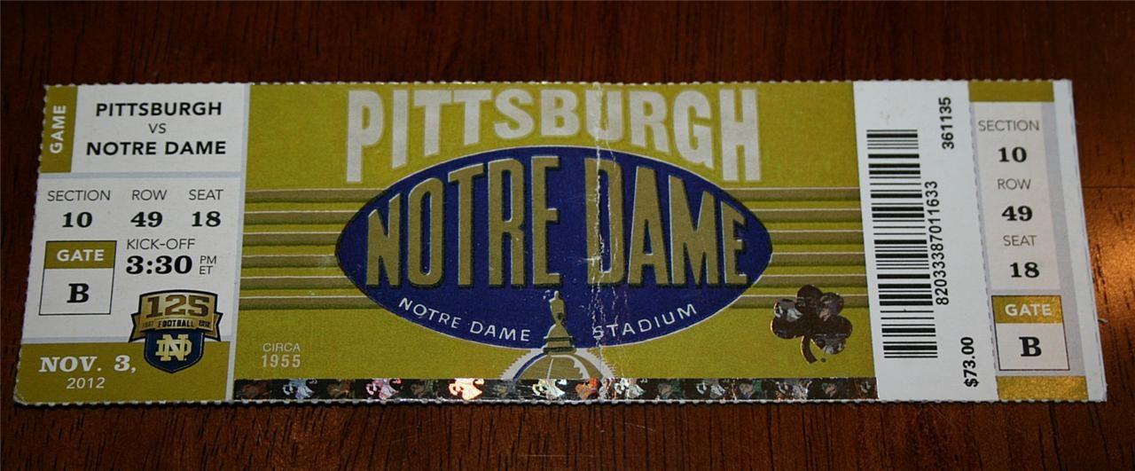 November 3 2012 Notre Dame Irish Vs Pittsburgh Panthers Football