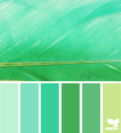feathered hues: Here's a great examples of using multiples of the same hue in a color scheme, but varying the color.