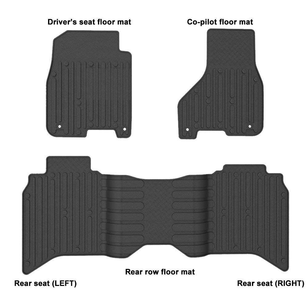 Winunite Front Rear Black Slush Floor Mats For 2013 2017 Dodge Ram