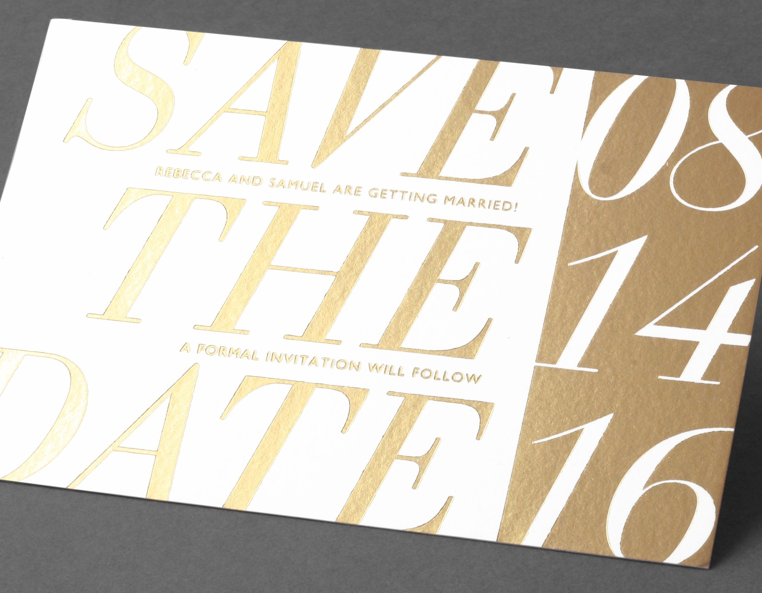 Vera Wang Gold And White Save The Date.Available At Honey Paper.com